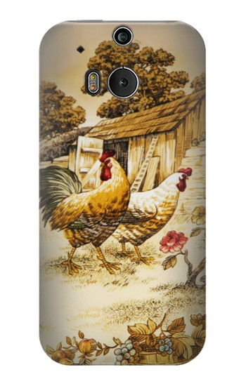 Printed French Country Chicken HTC One M8 Case
