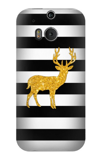 Printed Black and White Striped Deer Gold Sparkles HTC One M8 Case