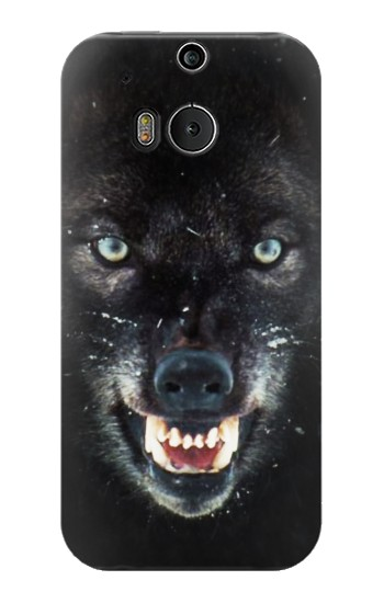 Printed Black Wolf Blue Eyes Face HTC One M8 Case