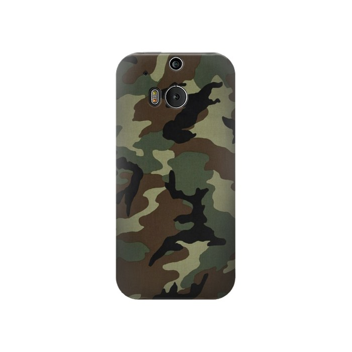 Printed Army Green Woodland Camo HTC One M8 Case