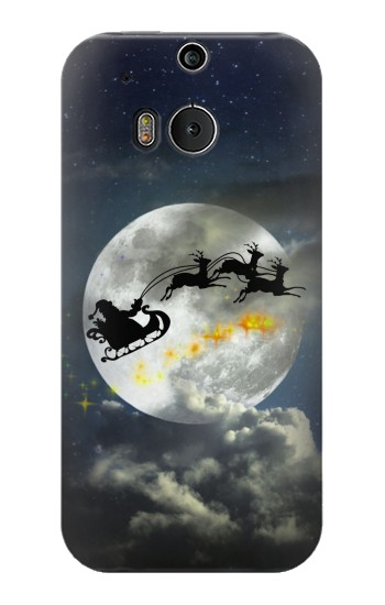 Printed Xmas Santa Night Sky Cloudy Moon HTC One M8 Case