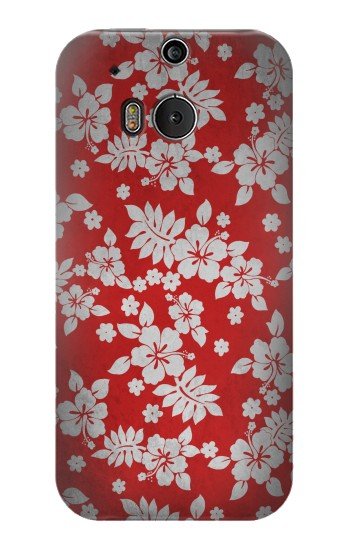Printed Vintage Red Hawaiian Flower Pattern HTC One M8 Case
