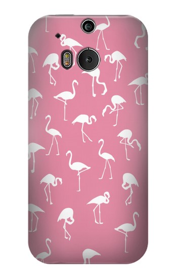 Printed Pink Flamingo Pattern HTC One M8 Case