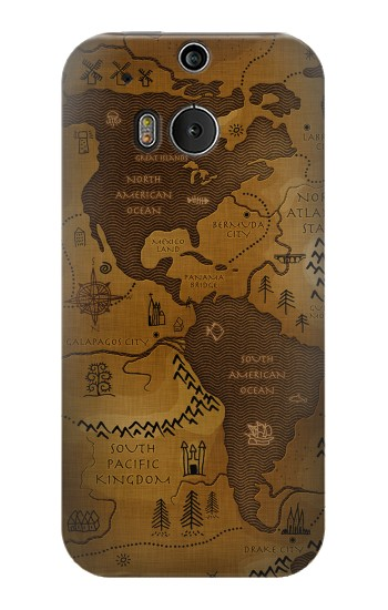 Printed Antique Style Map HTC One M8 Case