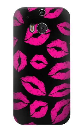 Printed Pink Lips Kisses on Black HTC One M8 Case