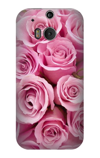 Printed Pink Rose HTC One M8 Case