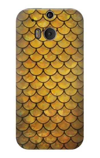 Printed Gold Fish Scale HTC One M8 Case