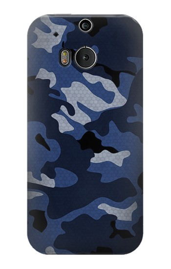 Printed Navy Blue Camouflage HTC One M8 Case