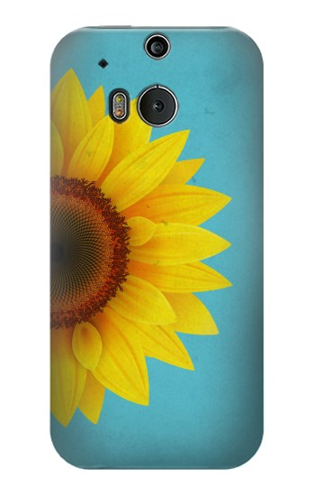 Printed Vintage Sunflower Blue HTC One M8 Case