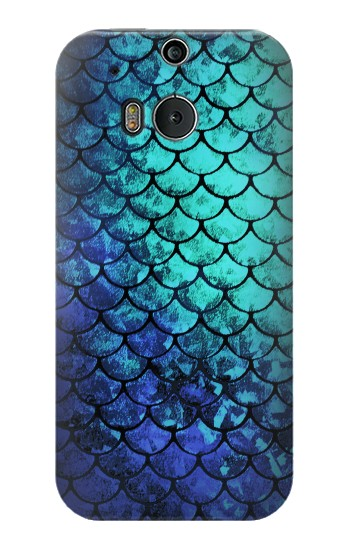 Printed Green Mermaid Fish Scale HTC One M8 Case