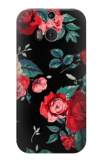 Printed Rose Floral Pattern Black HTC One M8 Case