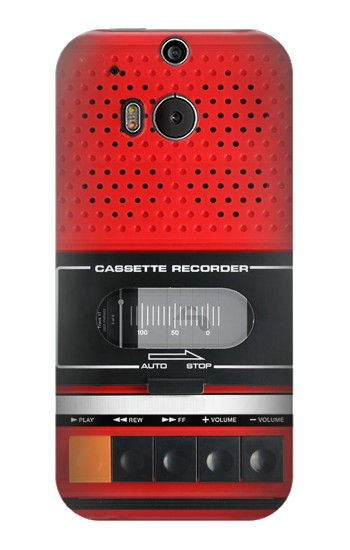 Printed Red Cassette Recorder Graphic HTC One M8 Case