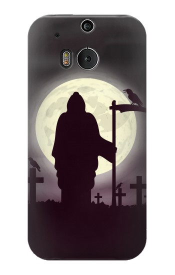 Printed Night Moon Cemetery HTC One M8 Case