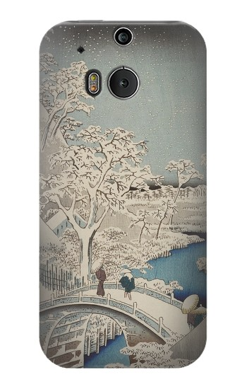 Printed Utagawa Hiroshige The Drum Bridge at Yuhi Hill in Meguro HTC One M8 Case