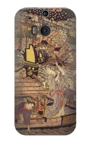 Printed Utagawa Kuniyasu Fireworks at Ryogoku Bridge HTC One M8 Case