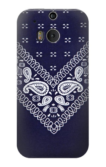 Printed Navy Blue Bandana Pattern HTC One M8 Case
