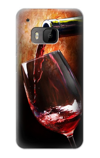 Printed Red Wine Bottle And Glass HTC One M9 Case