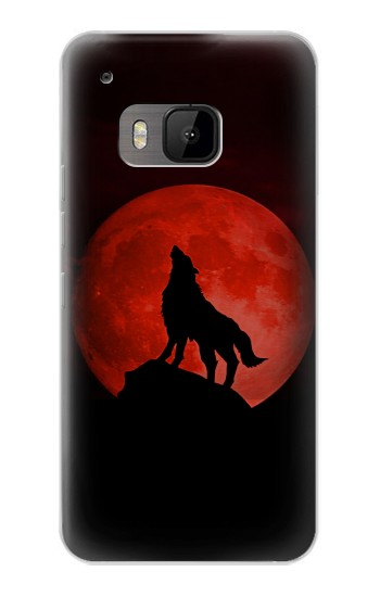 Printed Wolf Howling Red Moon HTC One M9 Case