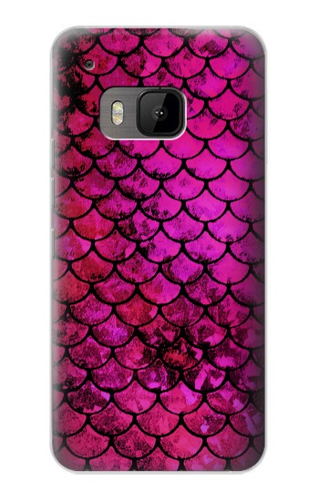 Printed Pink Mermaid Fish Scale HTC One M9 Case