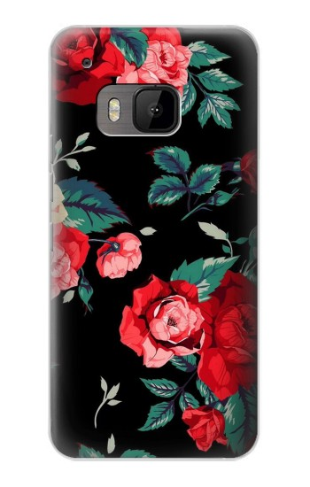 Printed Rose Floral Pattern Black HTC One M9 Case