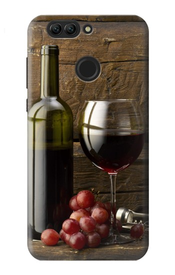 Printed Grapes Bottle and Glass of Red Wine Huawei nova 2 Case