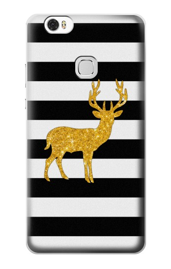 Printed Black and White Striped Deer Gold Sparkles Huawei Ascend G630 Case