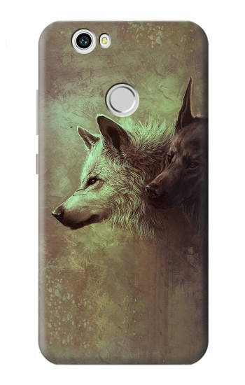 Printed White Black Wolf Huawei nova Case