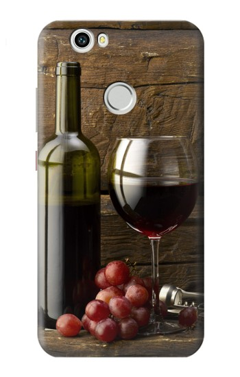 Printed Grapes Bottle and Glass of Red Wine Huawei nova Case