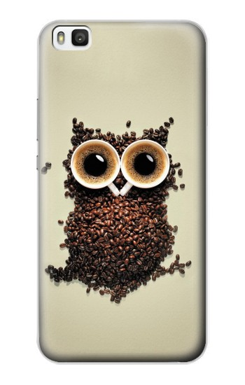 Printed Coffee Owl Huawei P8 Case
