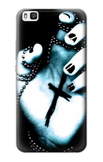 Printed Dark Gothic Cross Hand Huawei P8 Case