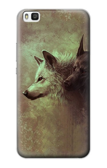 Printed White Black Wolf Huawei P8 Case