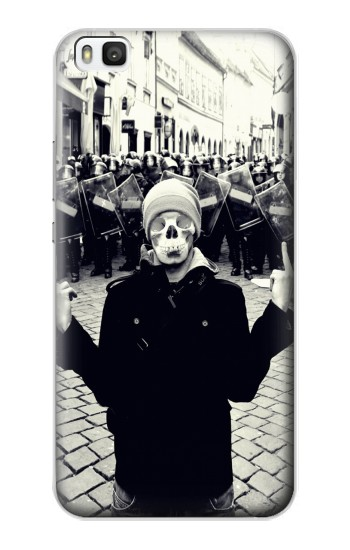 Printed Skull Mask Man Protester Huawei P8 Case