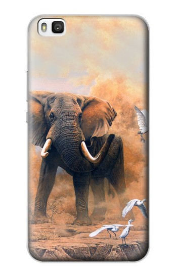 Printed Dusty Elephant Egrets Huawei P8 Case