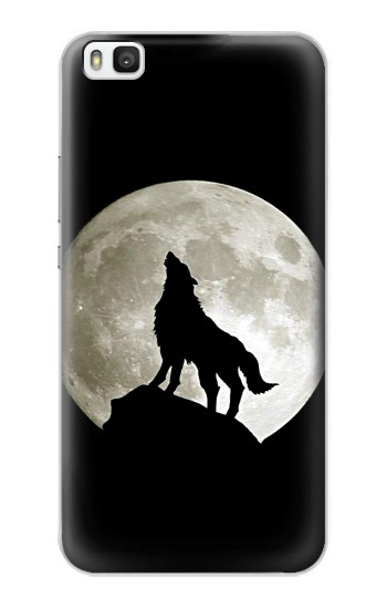 Printed Wolf Howling at The Moon Huawei P8 Case