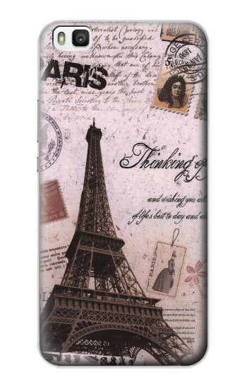 Printed Paris Postcard Eiffel Tower Huawei P8 Case