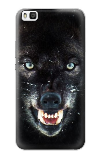 Printed Black Wolf Blue Eyes Face Huawei P8 Case