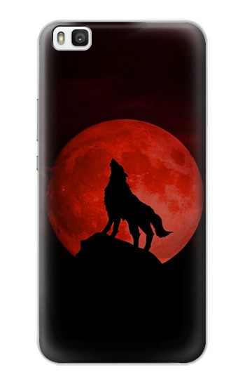 Printed Wolf Howling Red Moon Huawei P8 Case