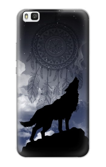 Printed Dream Catcher Wolf Howling Huawei P8 Case
