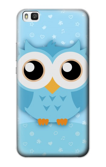 Printed Cute Blue Owl Huawei P8 Case