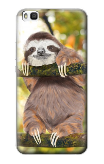 Printed Cute Baby Sloth Paint Huawei P8 Case