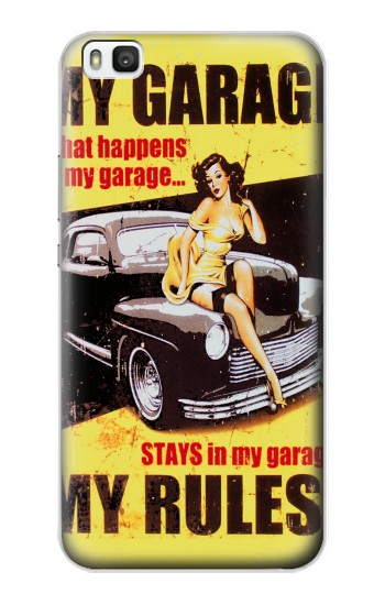 Printed My Garage Pinup Girl Huawei P8 Case