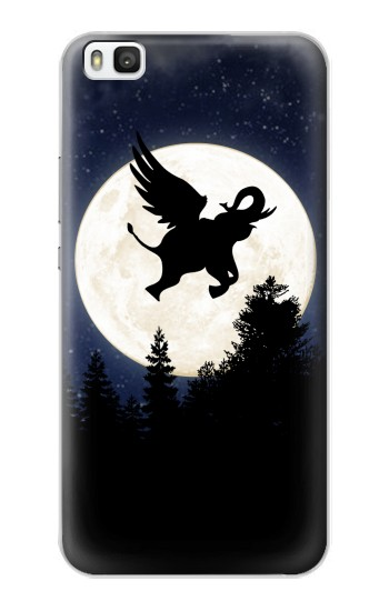 Printed Flying Elephant Full Moon Night Huawei P8 Case
