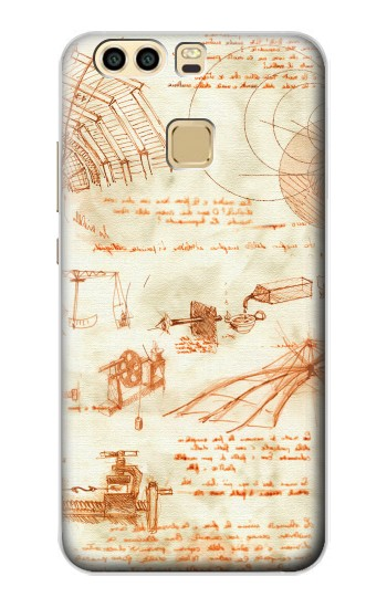 Printed Technical Drawing Da Vinci Huawei P9 Case