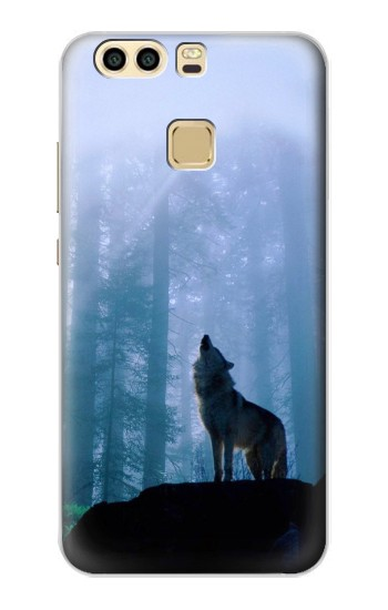 Printed Wolf Howling in Forest Huawei P9 Case