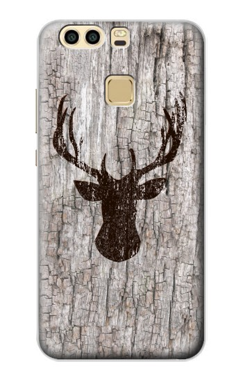 Printed Deer Head Old Wood Texture Huawei P9 Case