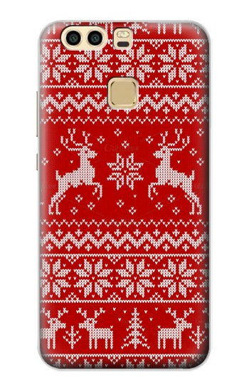 Printed Christmas Reindeer Knitted Pattern Huawei P9 Case
