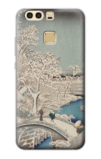 Printed Utagawa Hiroshige The Drum Bridge at Yuhi Hill in Meguro Huawei P9 Case
