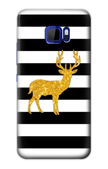 Printed Black and White Striped Deer Gold Sparkles HTC Desire 616 dual sim Case