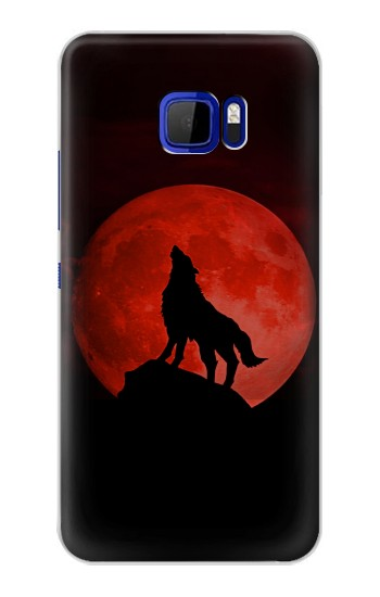 Printed Wolf Howling Red Moon HTC Desire 616 dual sim Case