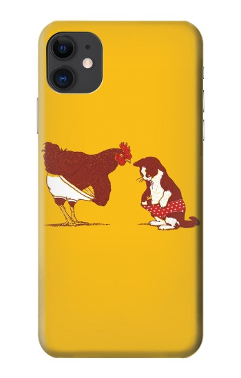 Printed Rooster and Cat Joke iPhone 11 Case